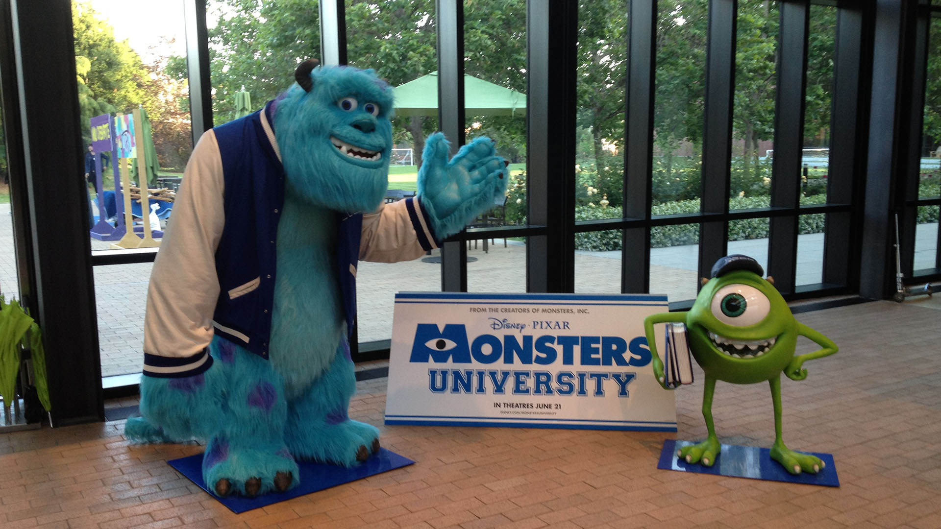 Mike and Sully at Pixar. Monsters University Behind the scenes