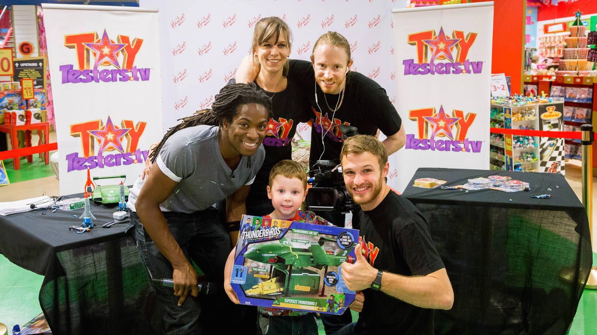 The crew with a lucky winner on the Toytesters.tv tour 2015