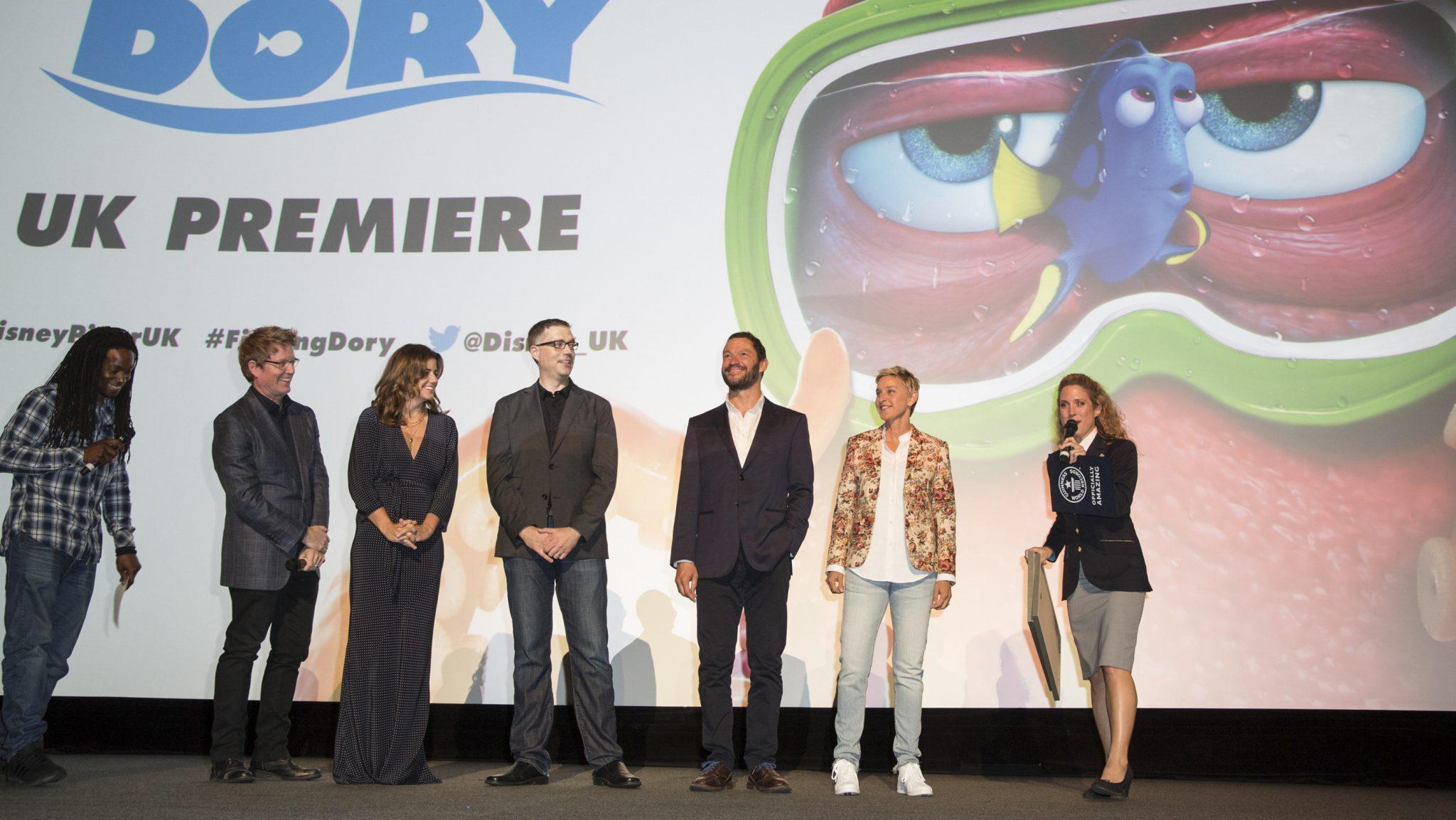 Nigel Clarke, Andrew Stanton, Dominic West, and Ellen DeGeneres at the Finding Dory UK Premiere