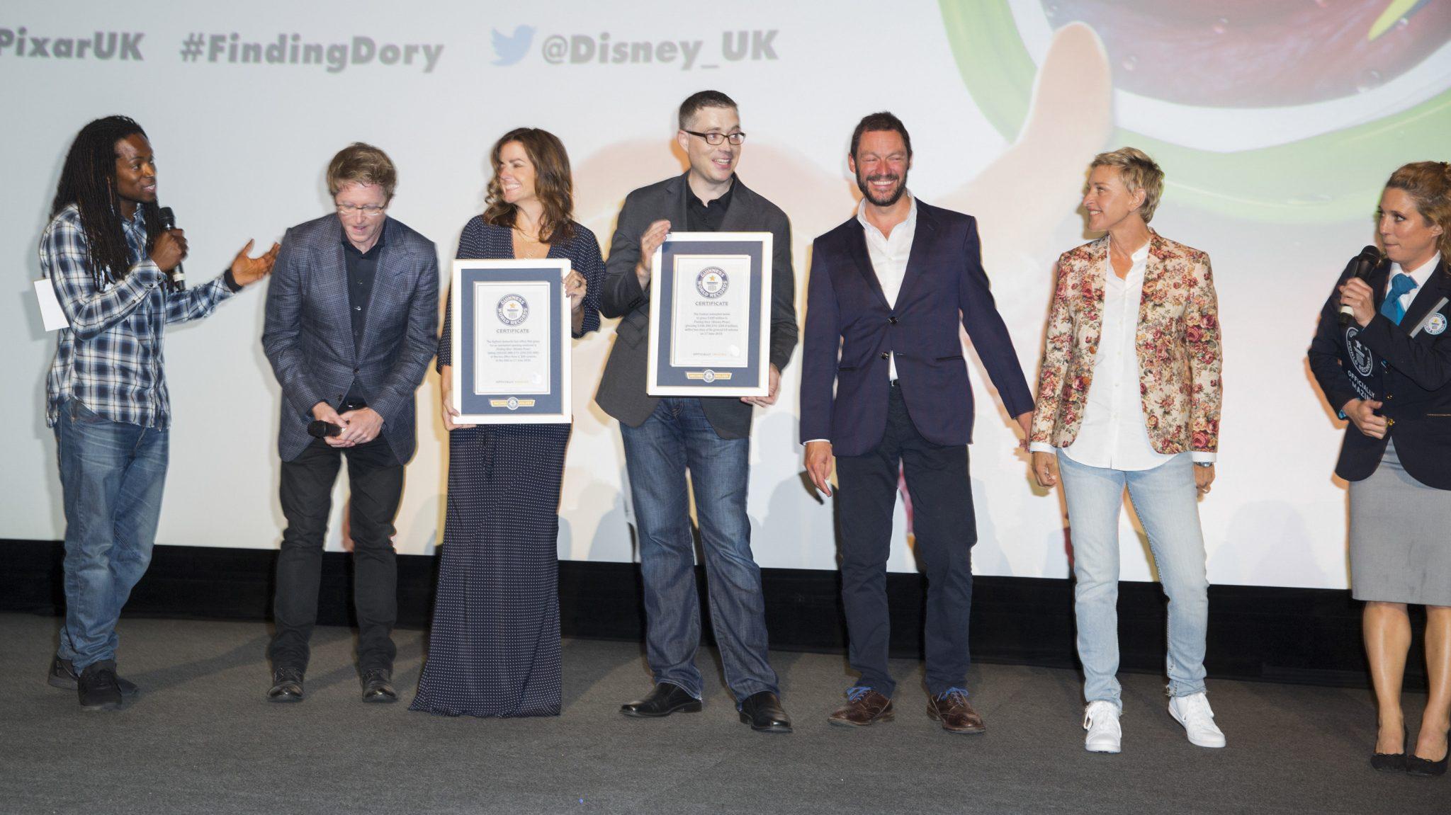 Nigel Clarke, Andrew Stanton, Dominic West, and Ellen DeGeneres at the Finding Dory UK Premiere (Close Up)