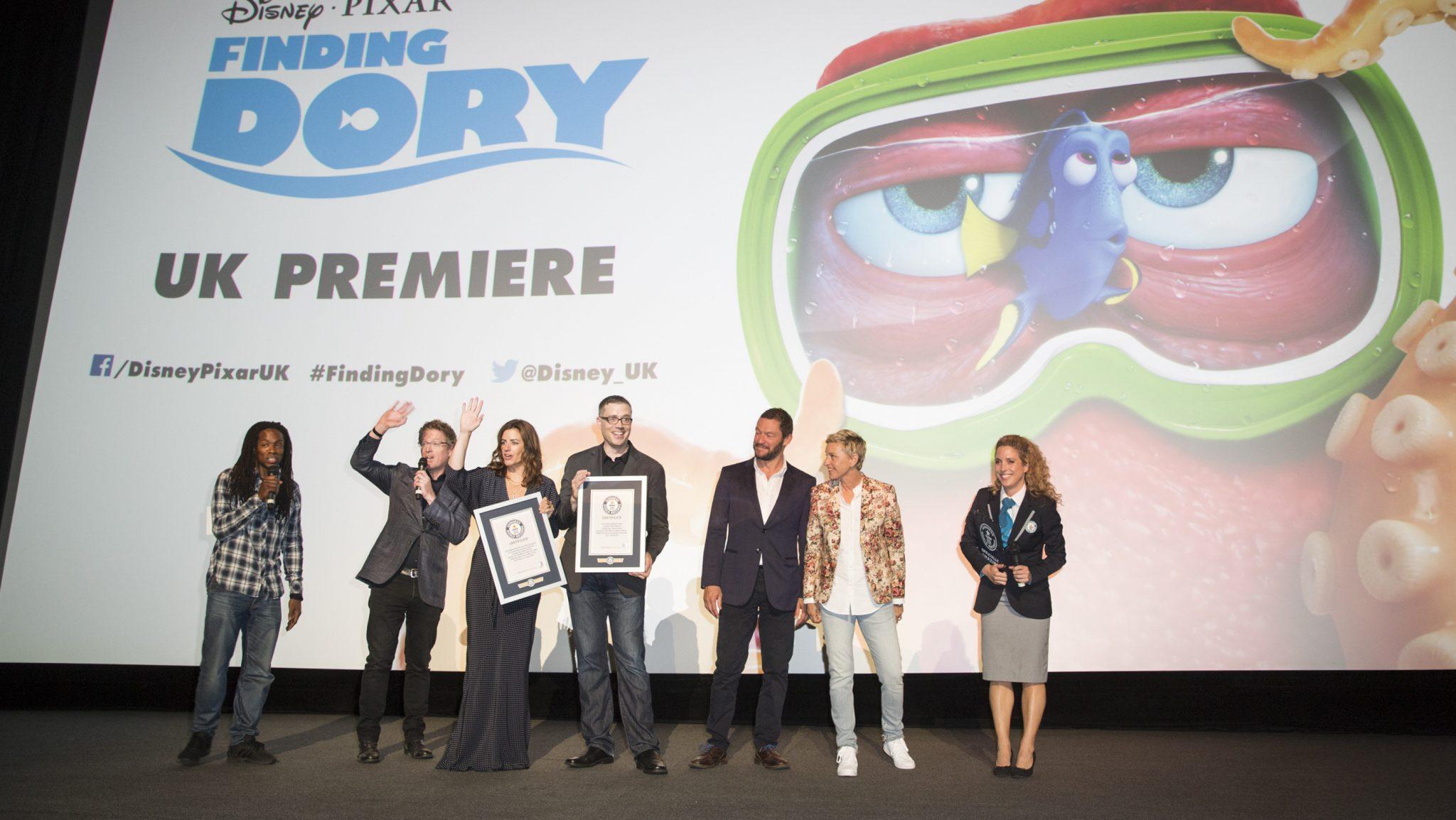 Nigel Clarke, Andrew Stanton, Dominic West, Ellen DeGeneres receiving a Guinness World record certificate at the Finding Dory UK Premiere