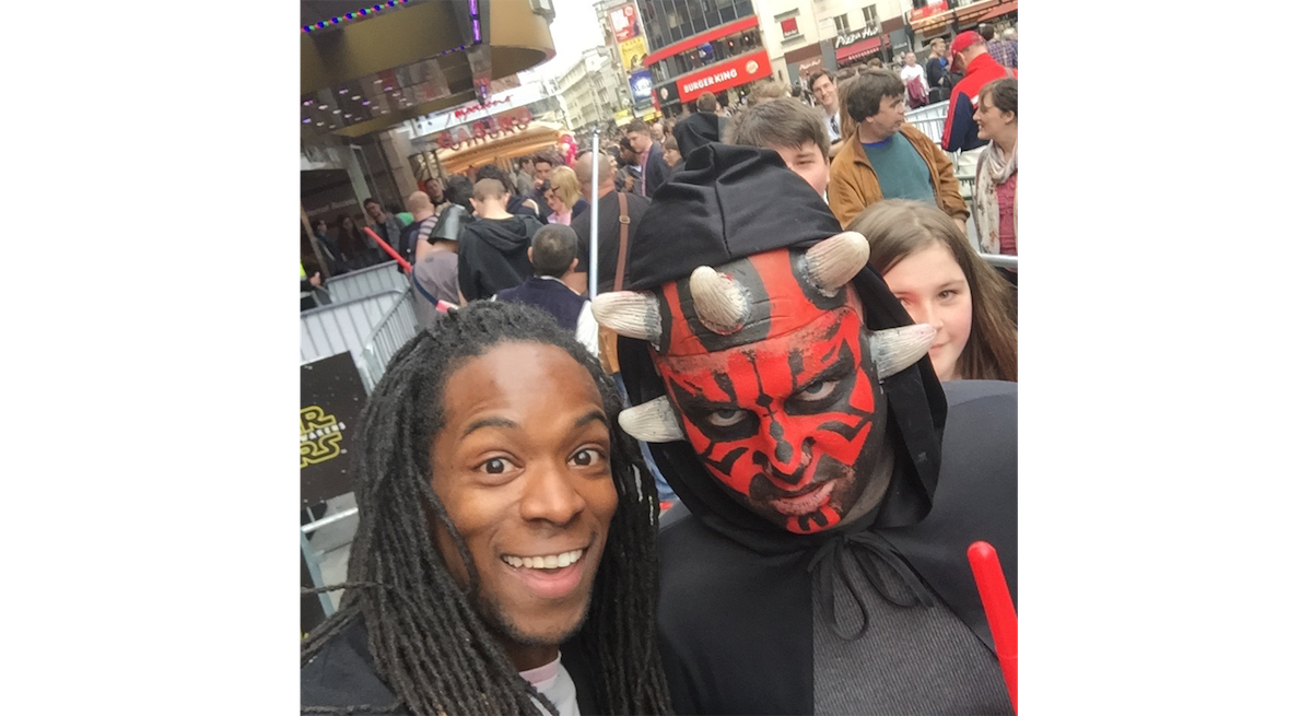 British TV Presenter Nigel Clarke with Darth Maul @ Star Wars Celebration 2015