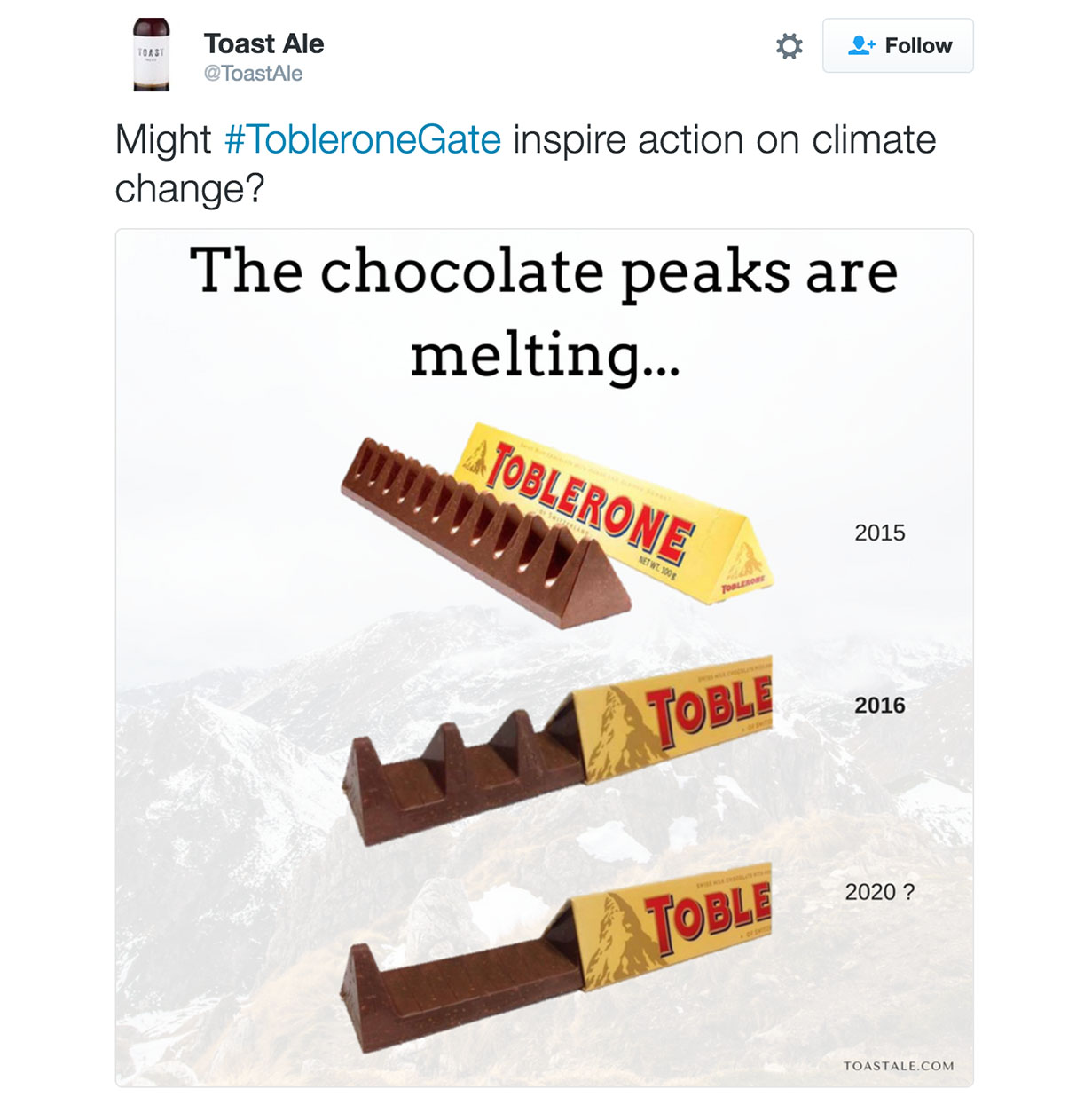 Toast Ale Twitter post on the New Toblerone bar
