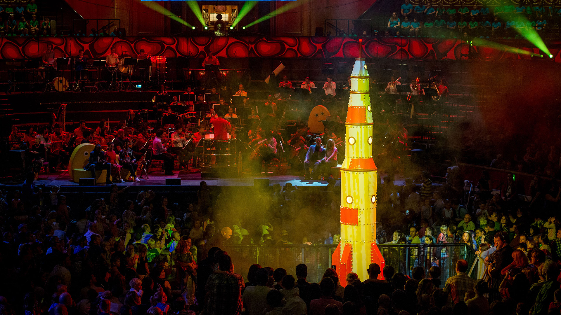 Rocket taking off at the Cbeebies Prom 2019