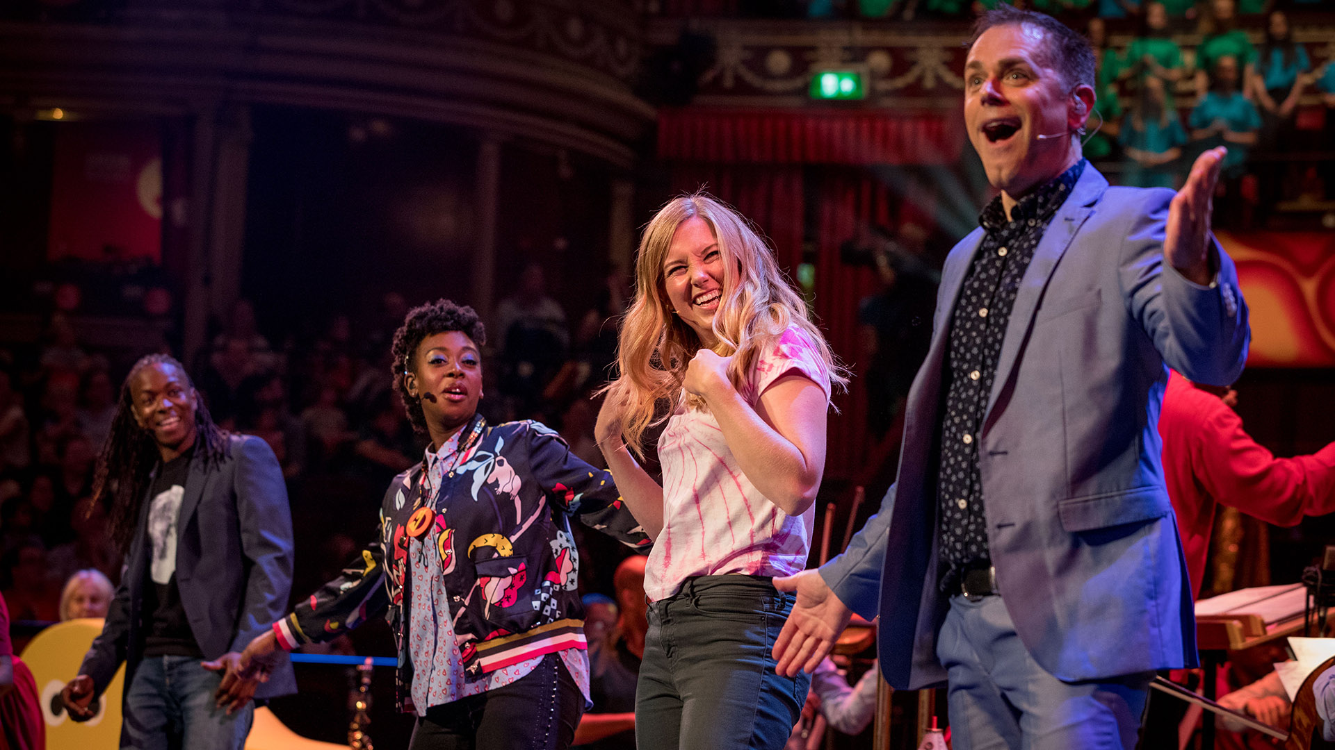 CBeebies Presenters on stage at the the Cbeebies Prom 2019 Photos 2 - Nigel Clarke, YolanDa Brown, Maddie Moate, Chris Jarvis